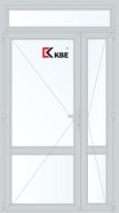Дверь ПВХ Дверь ПВХ KBE 1300*2400 двухстворчатая с узкой створкой и дополнительным окном (KBE 70 оконный)