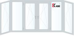 Балконная рама Балконная рама KBE 4400*1450 2К-СП, 6К-П, П/О+Г+П/О+П/О+Г+П/О (п-образная)
