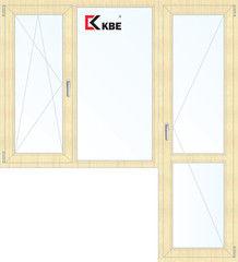 Окно ПВХ KBE 1860*2160 2К-СП, 5К-П, П/О+Г+П ламинированное (светлое дерево)