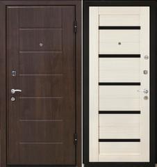 Входная дверь Входная дверь МеталЮр М7 (эшвайт мелинга, чёрное стекло)