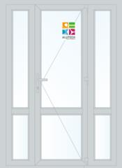 Алюминиевая дверь Alutech ALT C48 1500x2100 2К-СП, 1К-П Одностворчатая с импостом и доп окнами