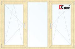 Окно ПВХ Окно ПВХ KBE 2060*1420 2К-СП, 5К-П, П/О+Г+П/О ламинированное (светлое дерево)