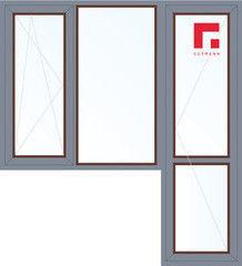 Дерево-алюминиевое окно Gutmann Меранти 1860*2160, 1с, П/О+Г+П