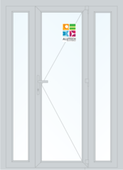 Алюминиевая дверь Alutech ALT C48 1500x2100 2К-СП, 1К-П Одностворчатая с боковыми окнами