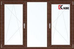 Окно ПВХ Окно ПВХ KBE 2060*1420 2К-СП, 5К-П, П/О+Г+П/О ламинированное (темное дерево)