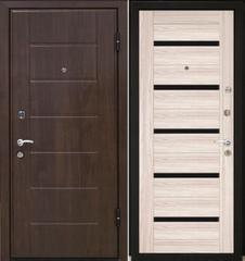 Входная дверь Входная дверь МеталЮр М7 (капучино мелинга, чёрное стекло)