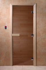 Дверь для бани и сауны Дверь для бани и сауны Doorwood Дверь для сауны Теплый день стекло бронза, коробка осина