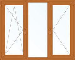 Деревянное окно Дуб 2060*1420, 1с, П/О+Г+П