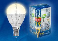 Лампа Лампа Uniel LED-G45-6W/WW/E14/FR ALP01WH пластик