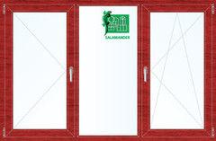 Окно ПВХ Окно ПВХ Salamander 2060*1420 2К-СП, 5К-П, П+Г+П/О ламинированное (вишня)