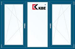 Окно ПВХ Окно ПВХ KBE 2060*1420 2К-СП, 5К-П, П/О+Г+П/О ламинированное (темно-синий)