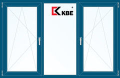 Окно ПВХ KBE 2060*1420 2К-СП, 5К-П, П/О+Г+П/О ламинированное (темно-синий)
