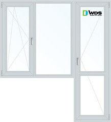 Окно ПВХ Окно ПВХ WDS 1860*2160 1К-СП, 4К-П, П/О+Г+П
