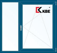 Окно ПВХ KBE 1460*1400 2К-СП, 5К-П, Г+П/О ламинированное (темно-синий)