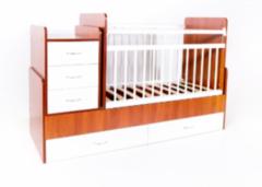 Детская кровать Кроватка Bambini трансформер (светлый орех-белый)
