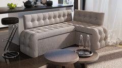 Кухонный уголок, диван ТриЯ угловой со спальным местом «Манчестер» (кожзам серый)