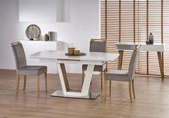 Обеденный стол Обеденный стол Halmar Valetti раскладной (белый матовый/дуб золотой)