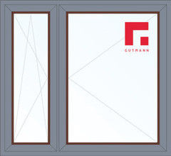 Дерево-алюминиевое окно Gutmann Меранти 1460*1400, 1с, П/О+П