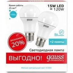 Лампа Лампа Gauss Elementary A60 15W E27 4100K 2/50 (23225P)