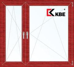 Окно ПВХ Окно ПВХ KBE 1460*1400 2К-СП, 5К-П, П/О+П/О ламинированное (вишня)