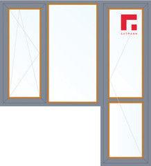 Дерево-алюминиевое окно Gutmann Лиственница 1860*2160, в/с, П/О+Г+П