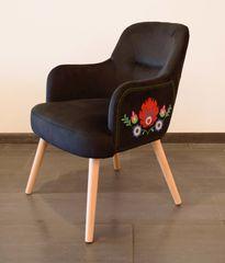 Кухонный стул MobilaDalin Pannonia (черный с вышивкой)