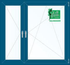Окно ПВХ Окно ПВХ Salamander 1460*1400 2К-СП, 5К-П, П+П/О ламинированное (темно-синий)