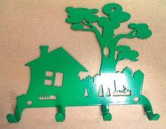 Полкодержатель, крючок Отис-сервис Крючок декоративный Дом с деревом (зеленый)