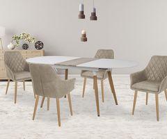 Обеденный стол Обеденный стол Halmar Caliber (белый матовый/дуб сан ремо)
