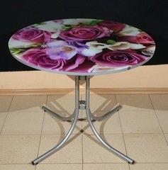 Обеденный стол Обеденный стол ИП Колеченок И.В. стекло с УФ-печатью круглый 900x22 (ножки Соня)