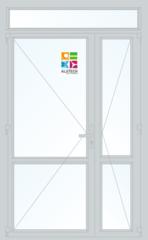 Алюминиевая дверь Alutech ALT W62 1300x2400 2К-СП, 3К-П Двухстворчатая с импостом, доп окном и узкой створкой