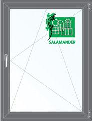 Окно ПВХ Окно ПВХ Salamander 800*1100 2К-СП, 5К-П, П/О ламинированное (серый)