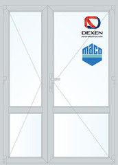 Дверь ПВХ Дверь ПВХ Dexen 1500*2100 двустворчатая Модель 60