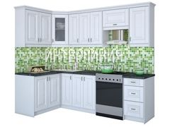 Кухня Кухня на заказ Интерлиния Мила Шале белое дерево (1.4x2.1)
