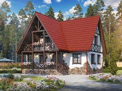 Строительство домов Строительство домов БелДревМонтаж Виктория К 6х9 с балконом