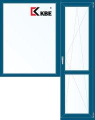 Окно ПВХ KBE 1860*2160 2К-СП, 5К-П, Г+П/О ламинированное (темно-синий)
