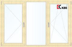 Окно ПВХ Окно ПВХ KBE 2060*1420 2К-СП, 5К-П, П+Г+П/О ламинированное (светлое дерево)