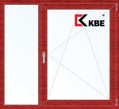 Окно ПВХ KBE 1460*1400 2К-СП, 5К-П, Г+П/О ламинированное (вишня)