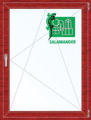 Окно ПВХ Окно ПВХ Salamander 800*1100 2К-СП, 5К-П, П/О ламинированное (вишня)