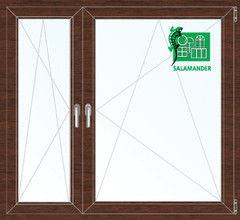 Окно ПВХ Окно ПВХ Salamander 1460*1400 2К-СП, 5К-П, П/О+П/О ламинированное (темное дерево)