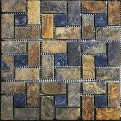 Натуральный камень Натуральный камень АЛЬТЕРфасад Мозаика из сланца Multicolor Cordwood