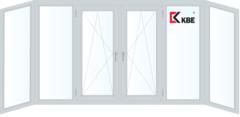 Балконная рама Балконная рама KBE 4400*1450 2К-СП, 5К-П, Г+Г+П/О+П/О+Г+Г (п-образная)