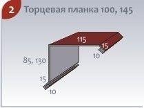 Комплектующие для кровли Profstal Торцевая планка 100, 145