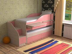 Двухъярусная кровать СлавМебель Дуэт-8 (дуб молочный/розовый)