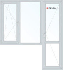 Окно ПВХ Окно ПВХ Dexen 1860*2160 1К-СП, 4К-П, П/О+Г+П