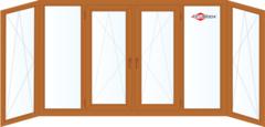 Балконная рама Балконная рама Brusbox 4400*1450 1К-СП, 4К-П, П/О+Г+П/О+П/О+Г+П/О (П-образная) c односторонней ламинацией