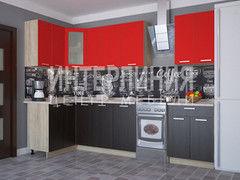 Кухня Кухня Интерлиния Мила угловая (красный/венге)