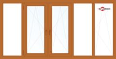 Балконная рама Балконная рама Brusbox 3650*1450 1К-СП, 4К-П, Г+П/О+П/О+Г+П/О (односторонняя ламинация)