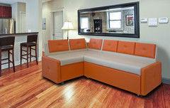 Кухонный уголок, диван ZMF Оскар (Ecotex orange/Texas beige)