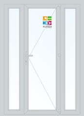 Алюминиевая дверь Alutech ALT W62 1500x2100 2К-СП, 3К-П Одностворчатая с боковыми окнами